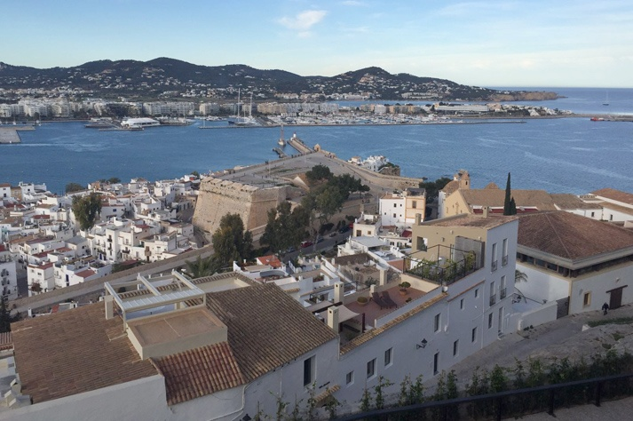 Ibiza's port and Santa Llucia bastion views from Cathedral square, in Dalt Vila