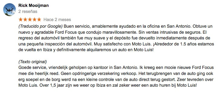 customer reviews rent a car ibiza moto luis