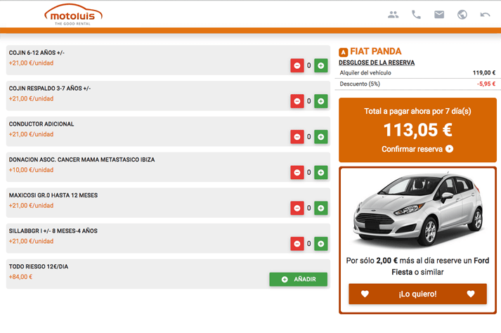 donation process reservation car rental in ibiza